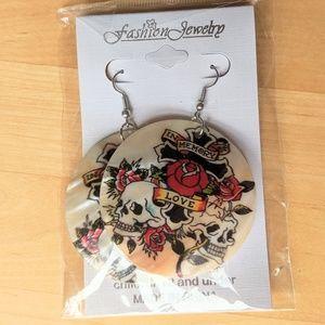 "Seashell Skull print Earrings 2"" wide style 2"